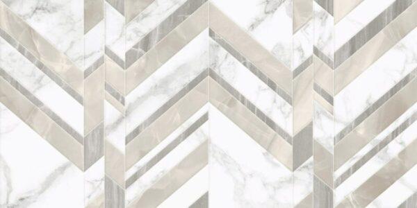 Marmo Bianco Chevron Golden Tile декор белый мрамор шеврон 30х60 см